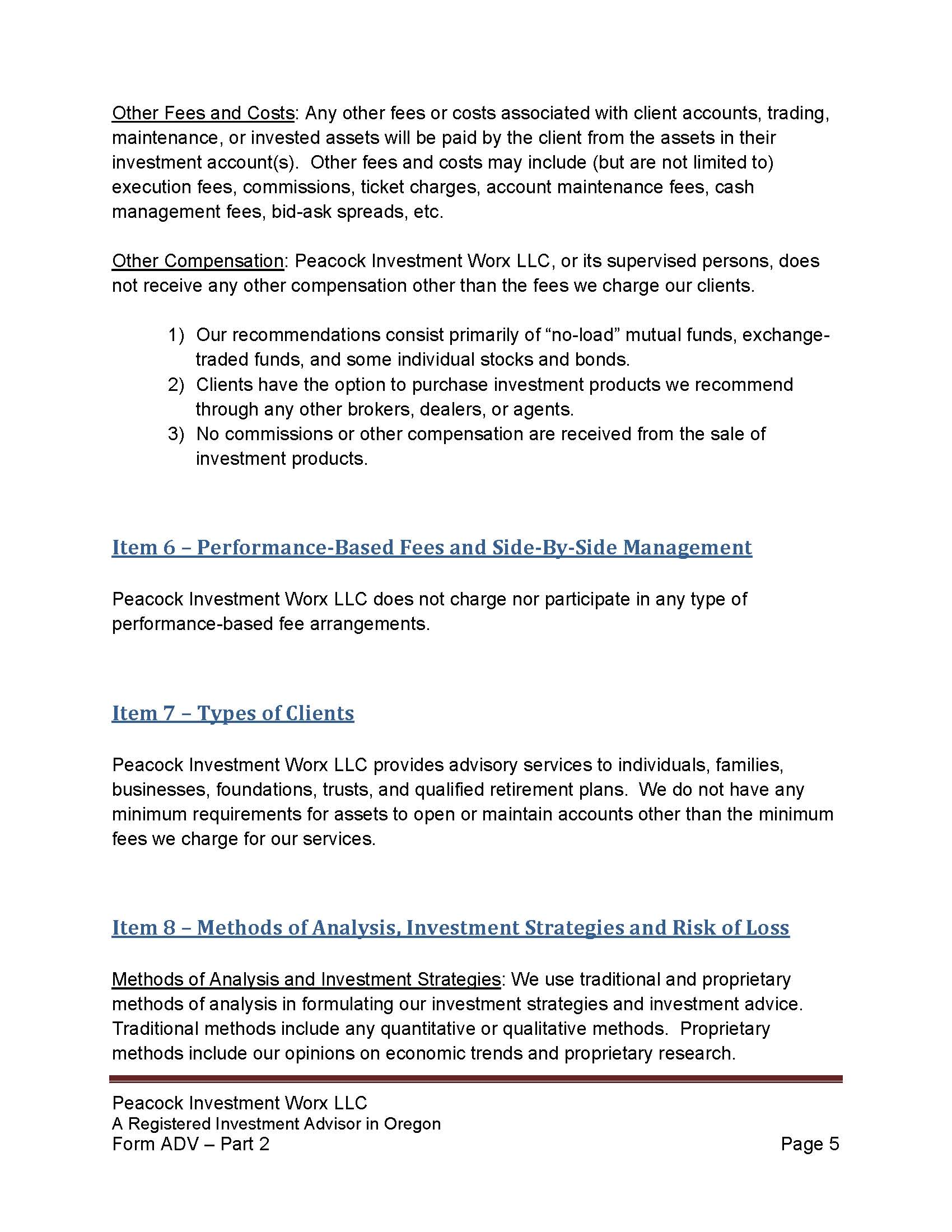 PIW Form ADV Part 2 Firm Brochure with TradePMR FCC verbiage 6 11 ...
