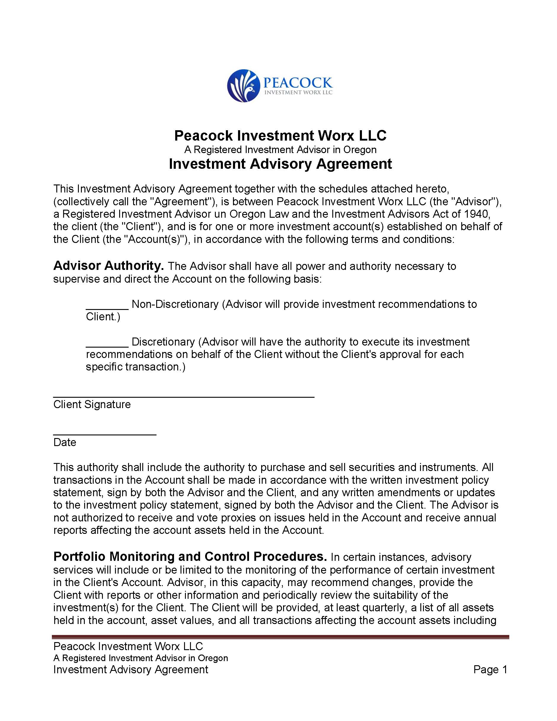 Piw General Investment Advisory Agreement With Tradepmr Fcc Verbiage